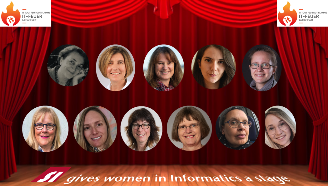 Stage with featured women in IT in Switzerland